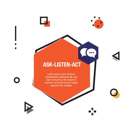 Ask-Listen-Act Infographic Icon Illusztráció