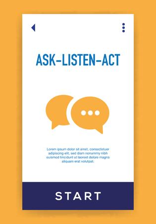 Ask-Listen-Act Icon Illusztráció
