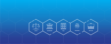 Law & Society Infographic Icon Set Vettoriali