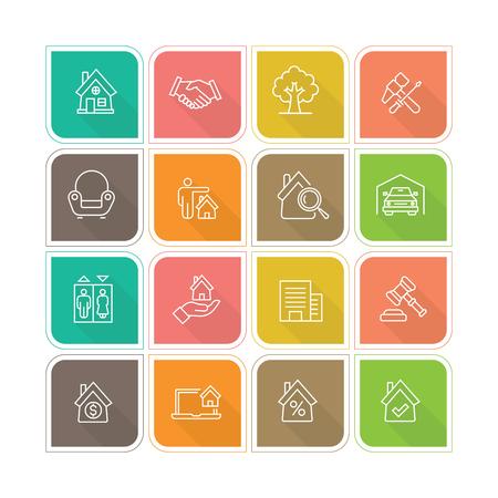 Real Estate Line Icon Illusztráció