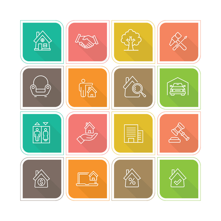 Real Estate Line Icon Illustration