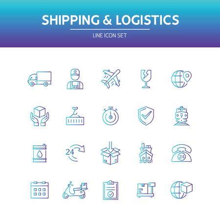 Shipping Logistics Line Icon Vektorgrafik