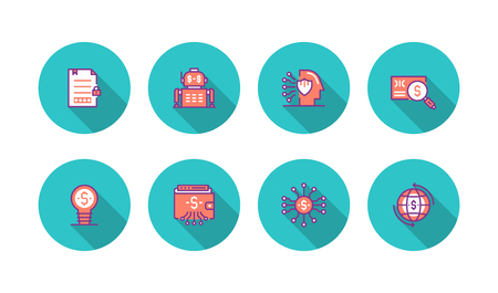 Fintech Industry Colored Flat Line Icon Set