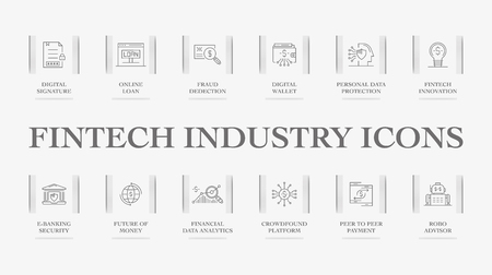 Fintech Industry Icons Illustration