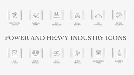 Power And Heavy Industry Icons Illustration