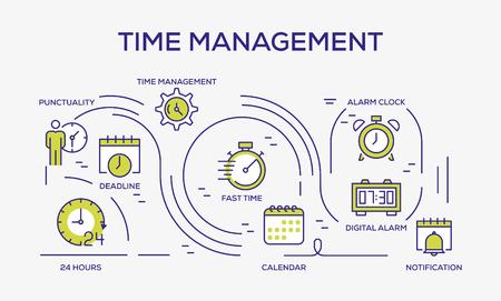 Time Management Colored Icons Vektoros illusztráció
