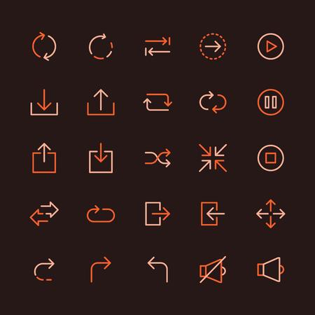 Basic Interface Multicolored Line Icon Set