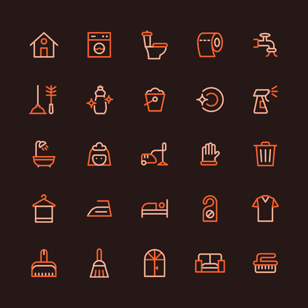 Household Chores Multicolored Line Icon Set
