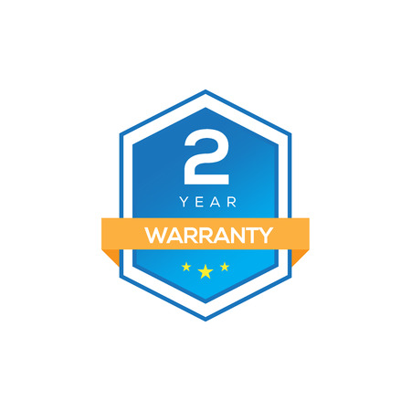 2 YEARS WARRANTY SIGN ISOLATED ON WHITE Illustration