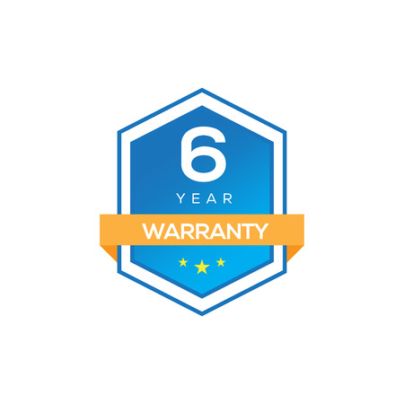 6 YEARS WARRANTY SIGN ISOLATED ON WHITE Illustration