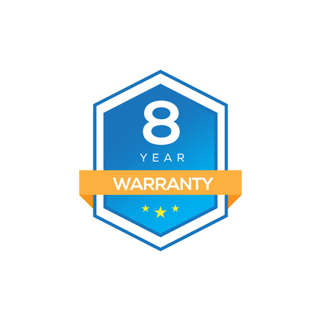 8 YEARS WARRANTY SIGN ISOLATED ON WHITE Illustration