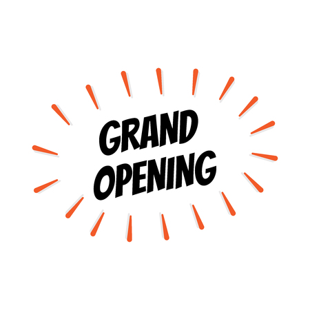 GRAND OPENING SIGN CONCEPT ISOLATED ON WHITE