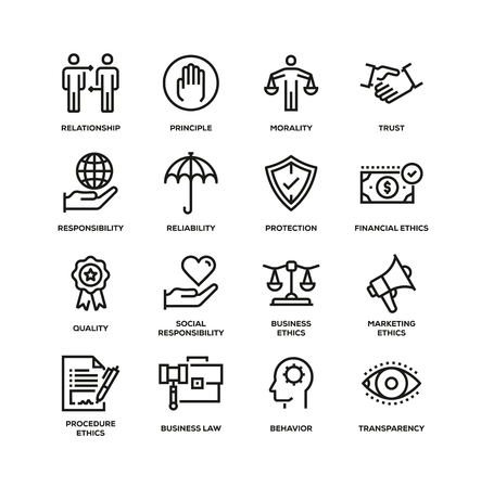 BUSINESS ETHICS LINE ICON SET Vectores