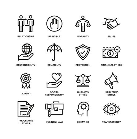 BUSINESS ETHICS LINE ICON SET Illustration