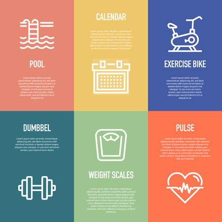 FITNESS LINE ICON SET 向量圖像