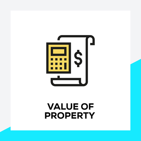 VALUE OF PROPERTY LINE ICON SET
