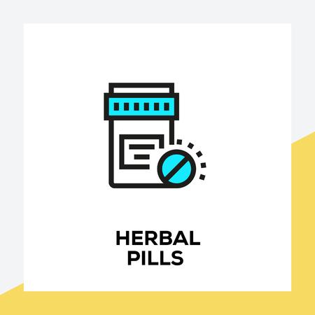 HERBAL PILLS LINE ICON SET