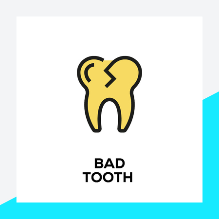 BAD TOOTH LINE ICON SET