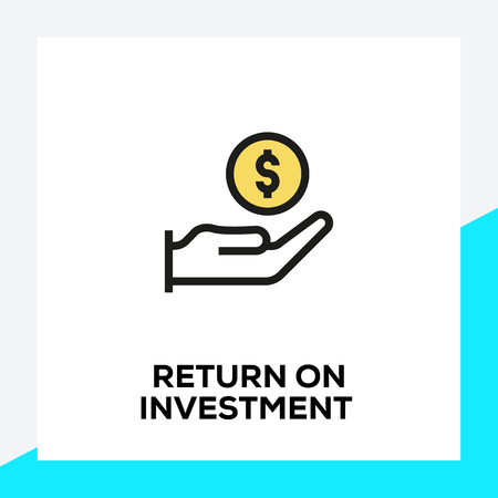 RETURN ON INVESTMENT LINE ICON SET Illustration