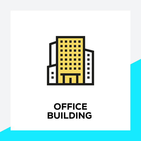 OFFICE BUILDING LINE ICON SET Stock Illustratie