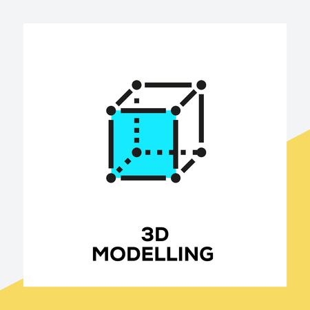 3D MODELLING LINE ICON SET