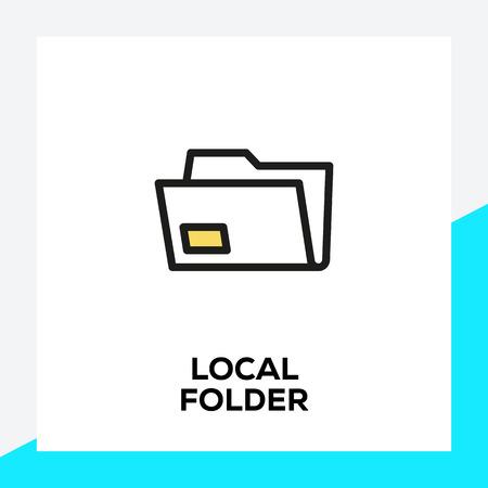 LOCAL FOLDER LINE ICON SET Banque d'images - 116213798