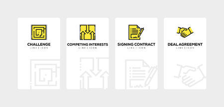 Business elements line set in white Иллюстрация