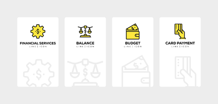 Banking and finance line icon set Иллюстрация