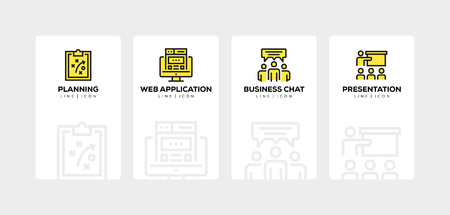 Workflow and business line icon set Иллюстрация