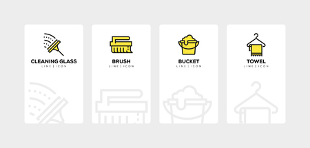 Cleaning line icon set