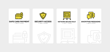 Cyber security line icon set Иллюстрация