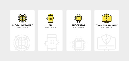 NETWORK TECHNOLOGY LINE ICON SET