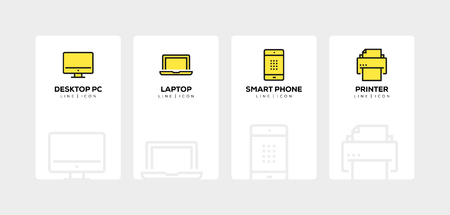 TECHNOLOGY AND DEVICES LINE ICON SET
