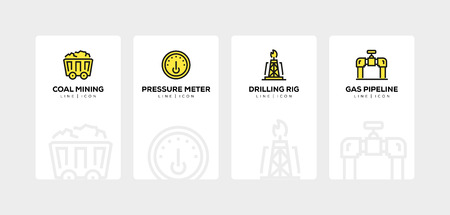Heavy and power industry line icon set