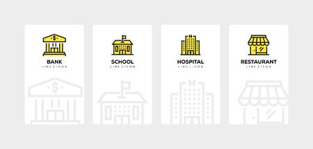 CONJUNTO DE ICONOS DE LÍNEA DE EDIFICIOS Ilustración de vector