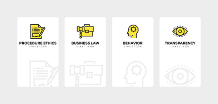 BUSINESS ETHICS LINE ICON SET Ilustracja