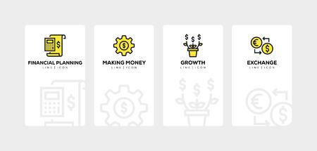Investment line icon set Ilustração