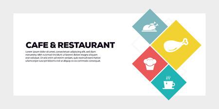 CONCEPTO DE BANNER DE CAFÉ Y RESTAURANTE Ilustración de vector