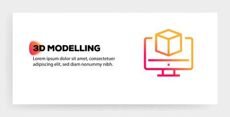 3D MODELLING ICON CONCEPT Illusztráció