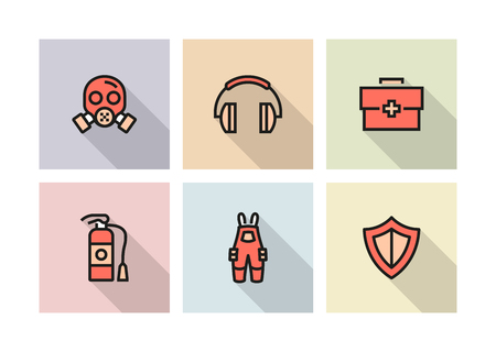 WORK SAFETY ICON CONCEPT