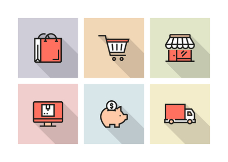 SHOPPING AND RETAIL ICON CONCEPT Stock Illustratie