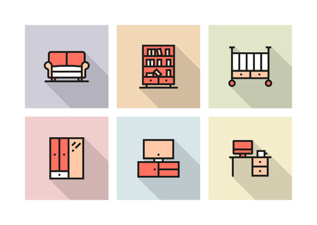 FURNITURE ICON CONCEPT Stock Illustratie