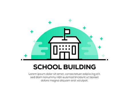 SCHOOL BUILDING ICON CONCEPT Ilustração