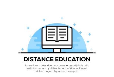 DISTANCE EDUCATION ICON CONCEPT 向量圖像