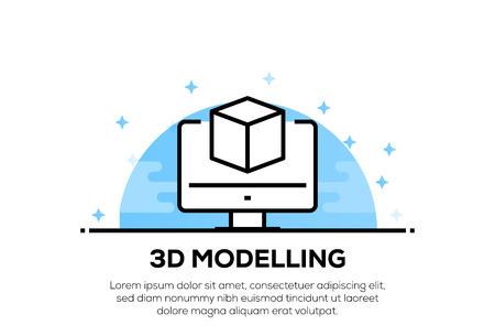 3D MODELLING ICON CONCEPT Illustration