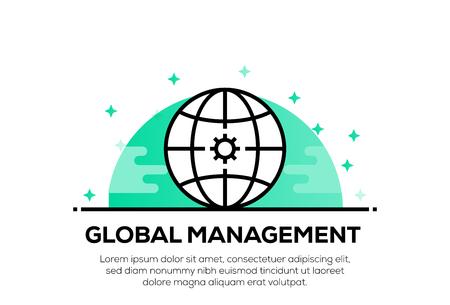 GLOBAL MANAGEMENT ICON CONCEPT Ilustrace
