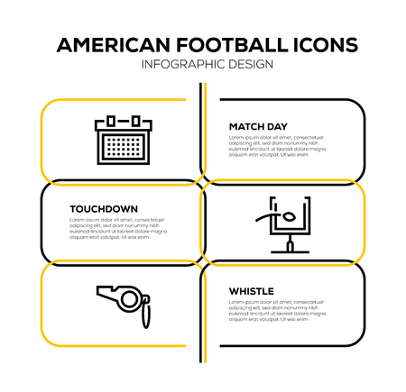 AMERICAN FOOTBALL ICON SET Vectores