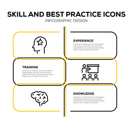 SKILL AND BEST PRACTICE ICON SET Vectores