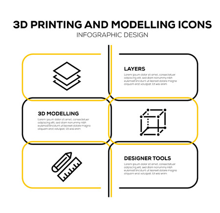 3D PRINTING AND MODELLING ICON SET
