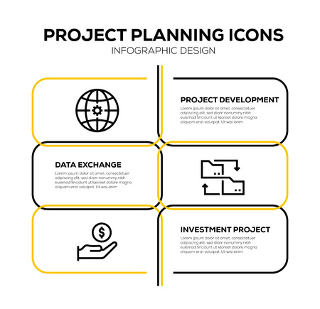 PROJECT PLANNING ICON SET Vettoriali